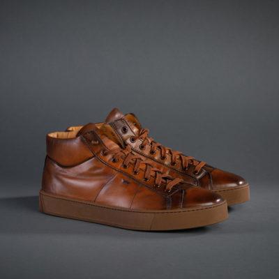 Santoni Sneaker High-Top, mittelbraun