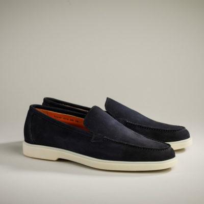 Santoni Herren-Loafer, blauer Velours