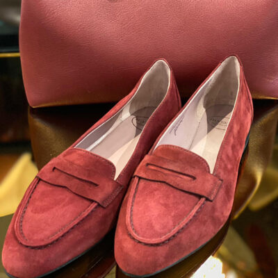Velours-Sandale von Silvestro + Tasche, #perfectmatch